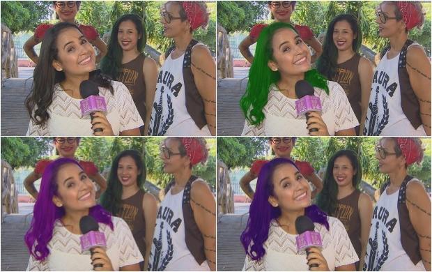 Recurso digital mostra como ficaria Ruthiene Bindá com os cabelos coloridos (Foto: Amazônia Revista,)