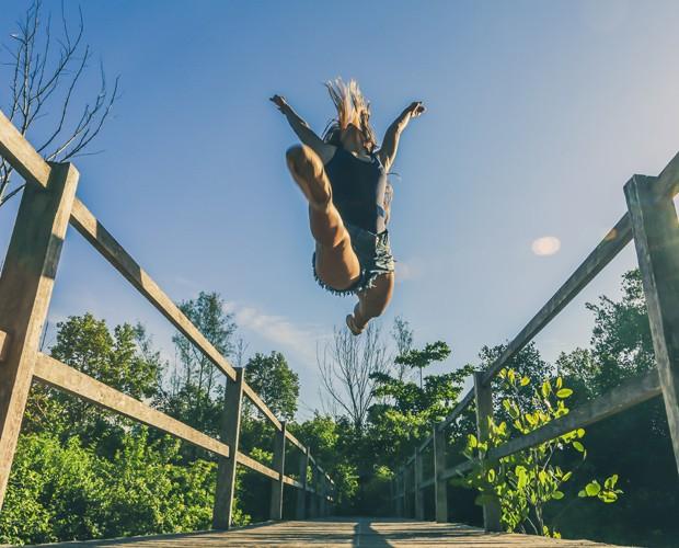 Assistente dá show de elasticidade (Foto: Rafael Magalhães/Gshow)