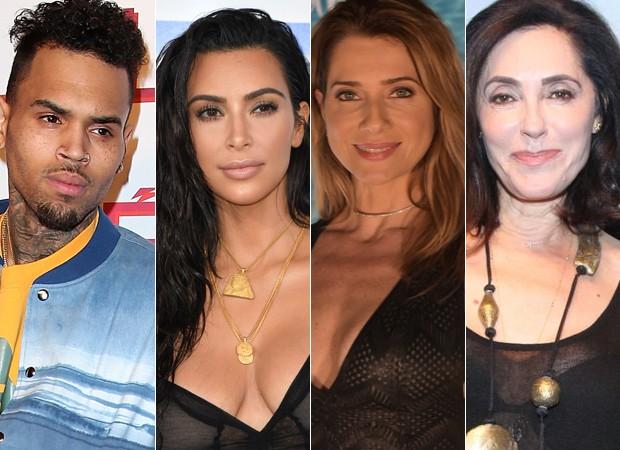 Chris Brown,Kim Kardashian,Letícia Spiller eChristiane Torloni (Foto: Reprodução/AFP/AgNews)