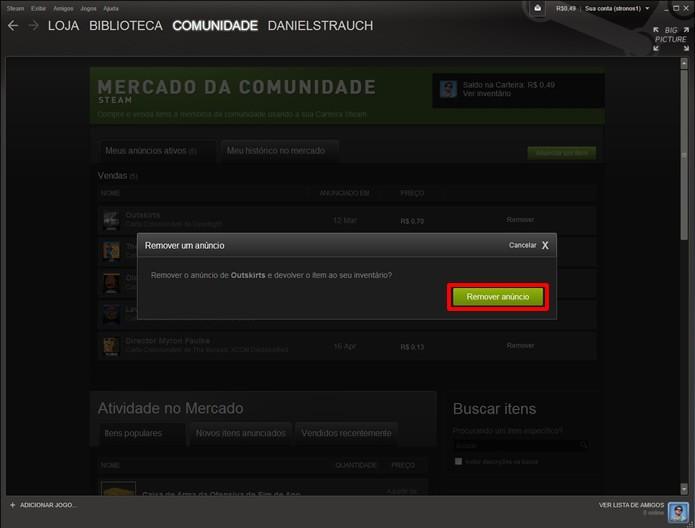 Para alterar o valor das cartas anunciadas, clique em remover e confirme sua opção (Foto: Reprodução/Daniel Ribeiro)