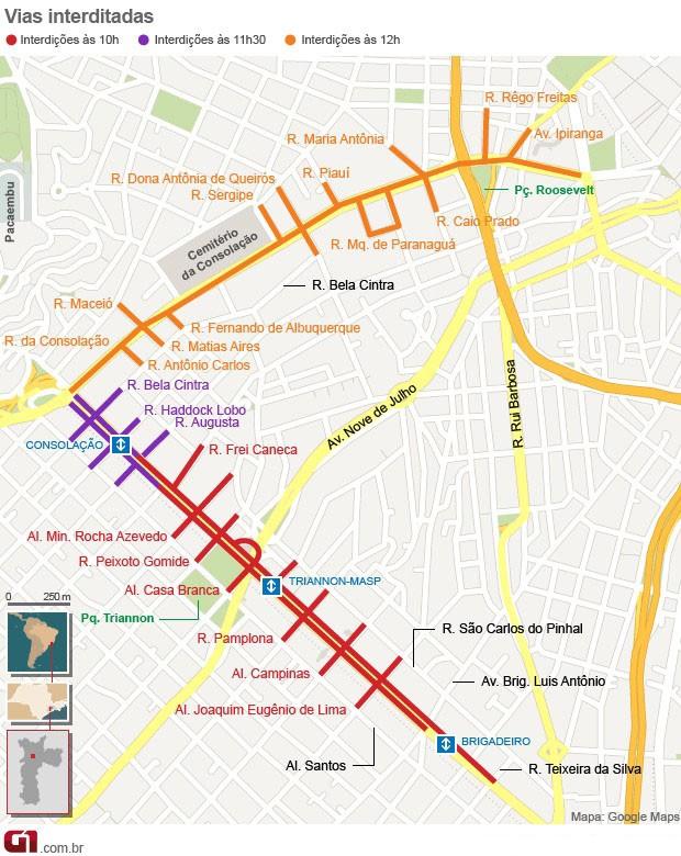 Mapa Parada Gay 2015 (Foto: Editoria de Arte/G1)