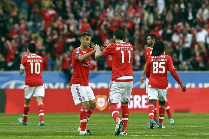 Jonas comemora gol de Mitroglou Benfica (Foto: EFE/EPA/PAULO NOVAIS)