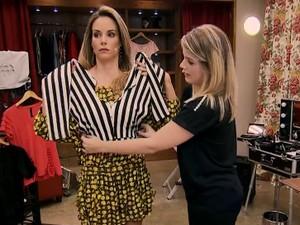 Convidade transforma legging em blusa (Foto: TV Globo)