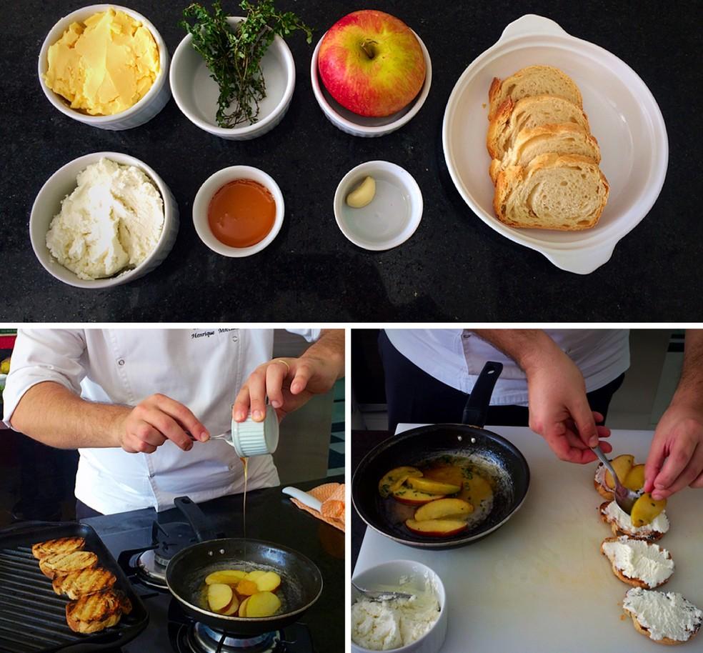 Chef Mecciano ensina os passos para preparar a bruschetta agridoce (Foto: Letícia Baptista/G1)