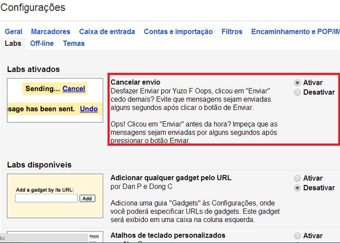 Ativação da ferramenta que cancela o envio de e-mails no Gmail (Foto: Reprodução/ Marcela Vaz)