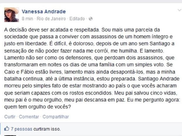 Vanessa fez um desabafo em sua página no Facebook (Foto: Reprodução/Facebook)