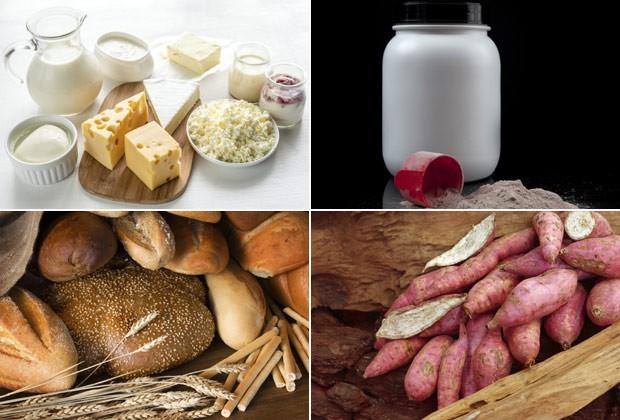 """Alimentos com lactose e glúten, com derivados do leite e pães, e os chamados """"funcionais"""", como o whey protein e batata doce: para Sophie Deram, o importante é não criar dicotomia entre comidas boas e ruins (Foto: Think Stock)"""