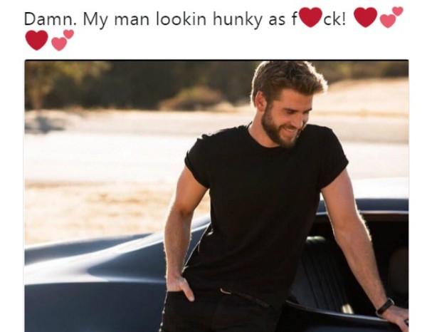 Elogio de Miley Cyrus para Liam Hemsworth  (Foto: Reprodução Twitter)