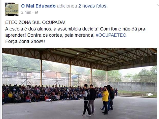 Em redes sociais, estudantes publicam imagens de Etecs ocupadas (Foto: Reprodução/ Facebook)