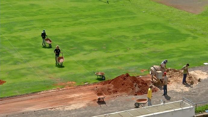 Gramado do Morenão recebe revitalização (Foto: Reprodução/TV Morena)