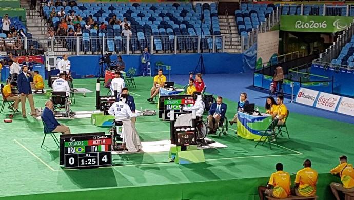 Brasil Italia esgrima espada por equipes cadeira de rodas (Foto: Zeca Azevedo)