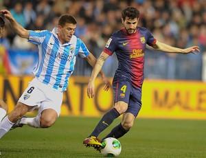Fabregas na partida do Barcelona contra o Málaga (Foto: AFP)