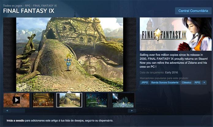 Final Fantasy IX no Steam (Foto: Reprodução/Felipe Vinha)