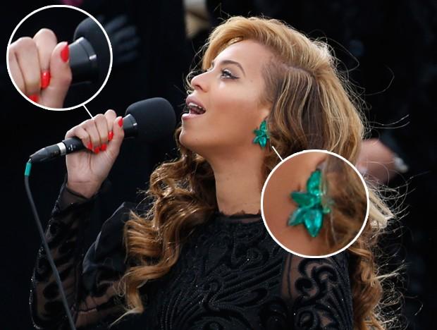 Destaque de brinco e esmalte usados por Beyoncé na posse de Obama (Foto: Getty Images / Agência)