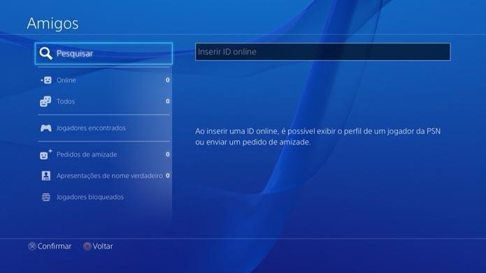 Playstation 4: aprenda a adicionar amigos pelo console (Foto: Reprodução/Mutilo Molina)