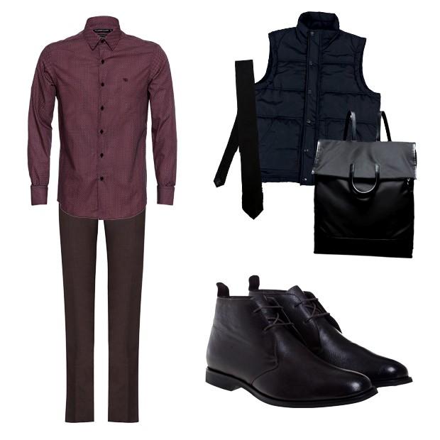 Camisa Damyller (R$ 259), calça Ricardo Almeida (R$ 806), gravata Dolce & Gabbana na Farfetch (R$ 910), colete Zapalla (R$ 250), mochila Prada (sob consulta), bota Noir, Le Lis (R$ 498) (Foto: Divulgação)