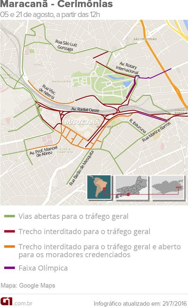 Região do Maracanã terá diversas ruas interditadas para as cerimônias de abertura e fechamento da Olimpíada (Foto: Arte G1 Rio)