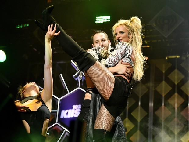 Britney Spears em show em Los Angeles, nos Estados Unidos (Foto: Kevork Djansezian/ Getty Images/ AFP)