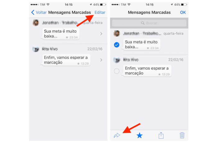 Selecionando mensagens marcadas com estrela que deseja encaminhar no WhatsApp para iPhone (Foto: Reprodução/Marvin Costa)