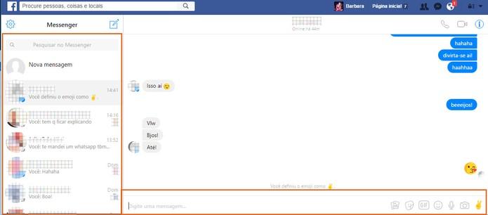 O Messenger é aberto dentro do Facebook com recursos completos (Foto: Reprodução/Barbara Mannara)