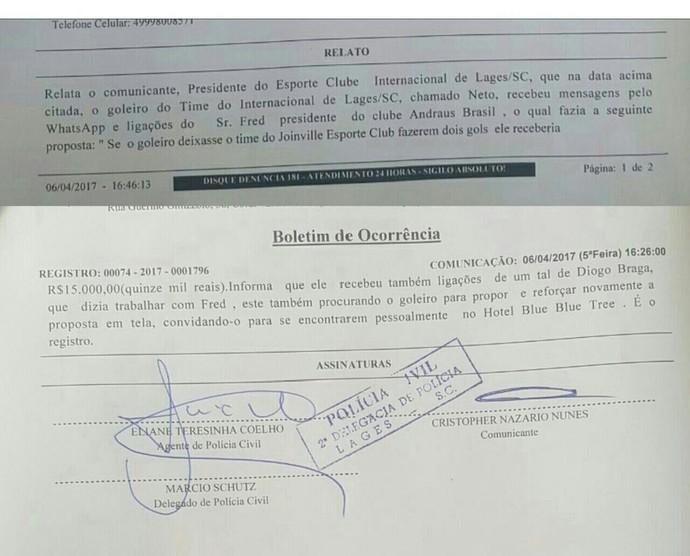 Boletim de ocorrência registrado pelo Inter de Lages (Foto: Reprodução)