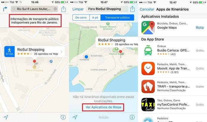 Como as rotas de transporte público no Brasil ainda não estão disponível, o Mapas sugere aplicativos (Foto: Reprodução/Juliana Pixinine)
