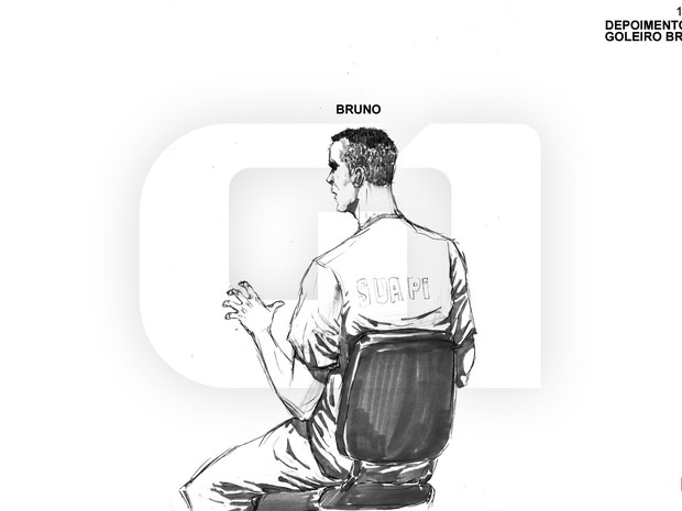 06/03/2013 - Ilustração de Bruno durante depoimento no terceiro dia do julgamento (Foto: Léo Aragão/G1)