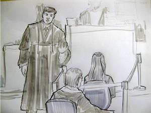 21.nov.2012 - Advogado Leonardo Diniz, que defende Macarrão, faz perguntas para mãe de Eliza, Sonia Moura. Atrás dela, está o assistente de José Arteiro . O desenho foi feito às 12h05 (Foto: Leo Aragão/G1)