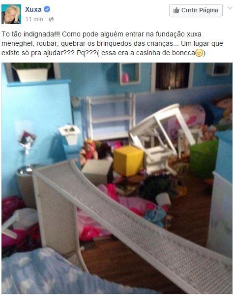 Xuxa sobre fundação (Foto: Reprodução / Facebook)