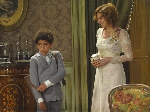 Elias descobre que Constância é sua avó (Foto: Lado a Lado/TV Globo)