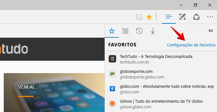 Edge importa favoritos de outros navegadores (Foto: Reprodução/Helito Bijora)