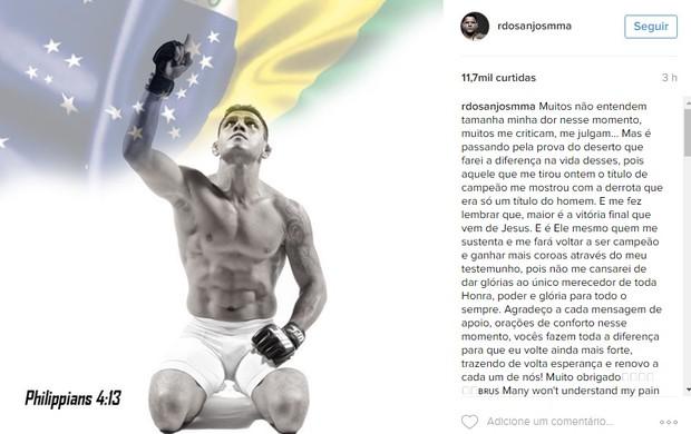 """BLOG: Dos Anjos desabafa após derrota: """"Muitos não entendem tamanha minha dor"""""""