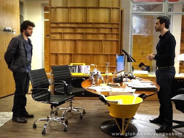 Fabinho pede perdão a Natan e diz que não vai pedir emprego de volta (Foto: Sangue Bom/ TV Globo)