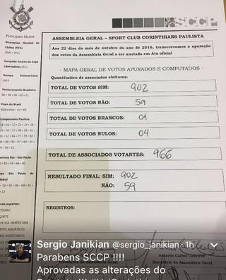 Votação Assembleia Corinthians Estatuto (Foto: Reprodução/Instagram)