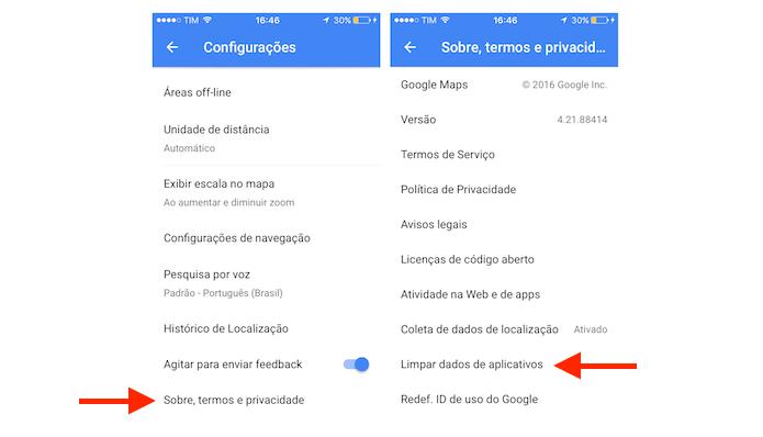 Acessando a ferramenta para limpar o cache do Google Maps no iPhone (Foto: Reprodução/Marvin Costa)