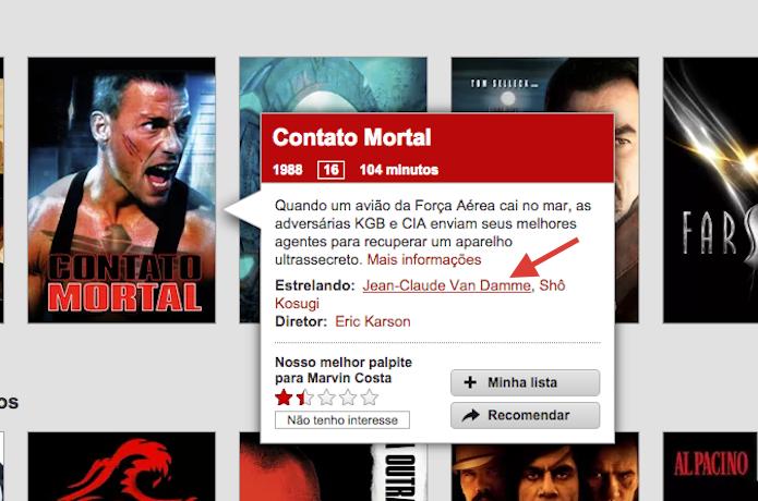 Acessando todo conteúdo relacionado a um ator ou direto no Netflix (Foto: Reprodução/Marvin Costa)