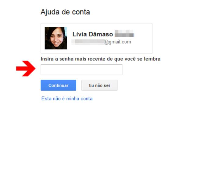 Página de recuperação de senha da conta do Google (Foto: Reprodução/Lívia Dâmaso)