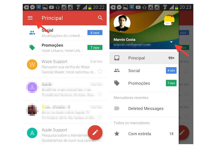 Acessando as configurações para uma conta do Gmail no Android (Foto: Reprodução/Marvin Costa)