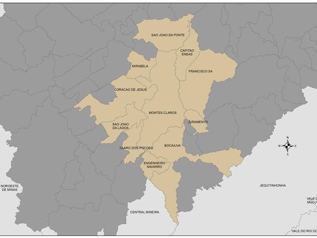 Mata mostra a área que compreenderia a região metropolitana  (Foto: Laboratório de geoprocessamento da Unimontes )
