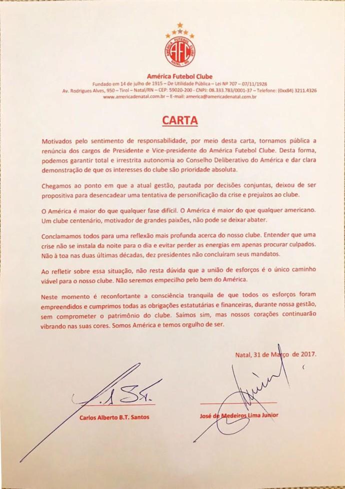 Beto Santos - Carta de renúncia  (Foto: Reprodução)