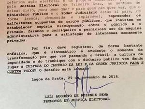Trecho de nota assinada pelo promotor de Jusiça Eleitoral de Lagoa da Prata, Luís Augusto de Rezende Pena (Foto: MPMG/Reprodução)