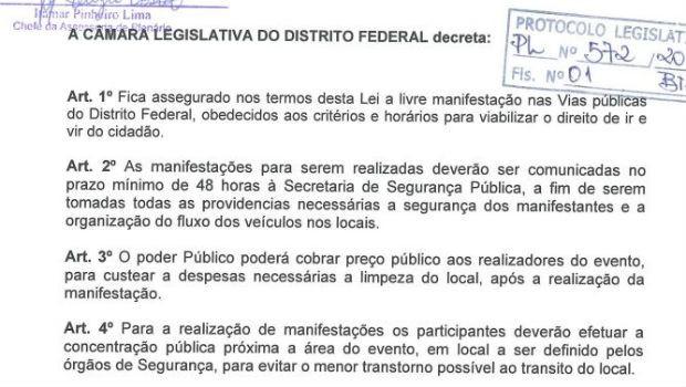 Projeto aprovado pela CLDF cria regras para manifestações no Eixo Monumental, em Brasília (Foto: CLDF/Reprodução)