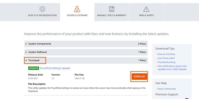Driver do touchpad pode ser baixado no site da fabricante (Foto: Reprodução/Barbara Mannara)