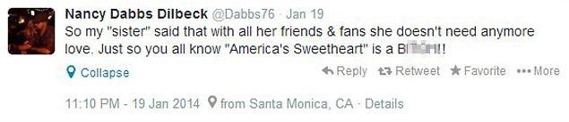 Tweet da irmã de Julia Roberts (Foto: Reprodução/Twitter)