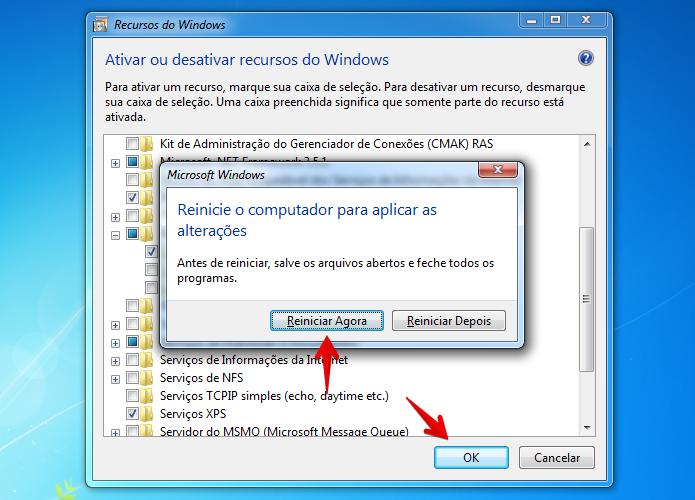Pressione OK e reinicie o computador (Foto: Reprodução/Helito Bijora)
