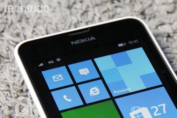 Detalhe da conectividade 4G no Lumia 635 (Foto: Tainah Tavares/TechTudo)