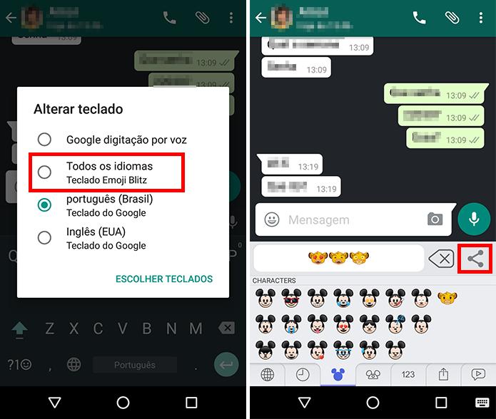 Troque para o teclado do app e selecione emojis (Foto: Reprodução/Paulo Alves)