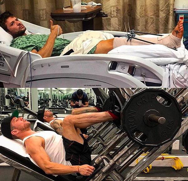O ator Ryan Phillipe em montagem feita por ele, malhando apenas alguns meses após quebrar uma das pernas (Foto: Instagram)