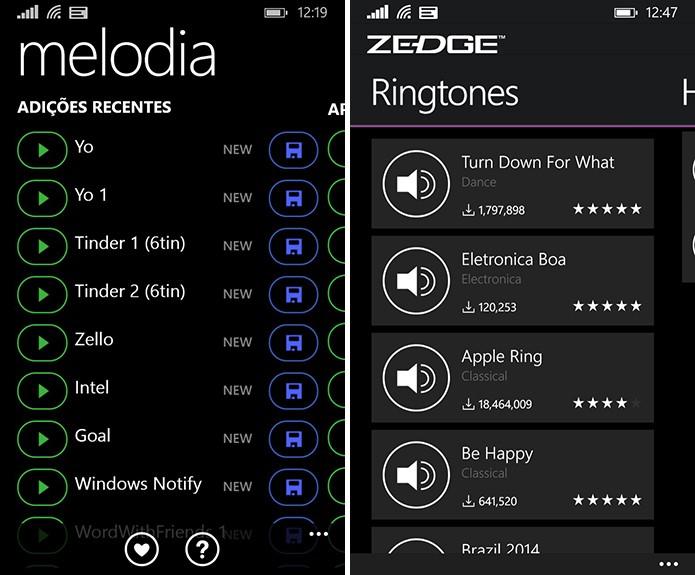Melodia (à esquerda) e Zedge (à direita) são boas opções para baixar toques para Windows Phone disponíveis no TechTudo Download (Foto: Reprodução/Elson de Souza)