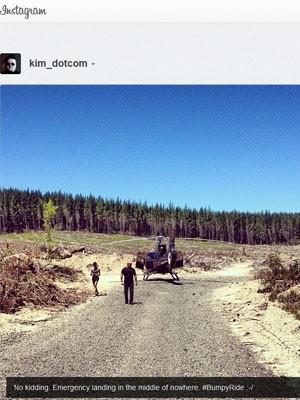 O alemão Kim Dotcom publicou foto de pouso forçado no Instagram (Foto: Reprodução)